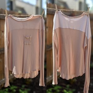 joah brown • pink & white knit long sleeve top